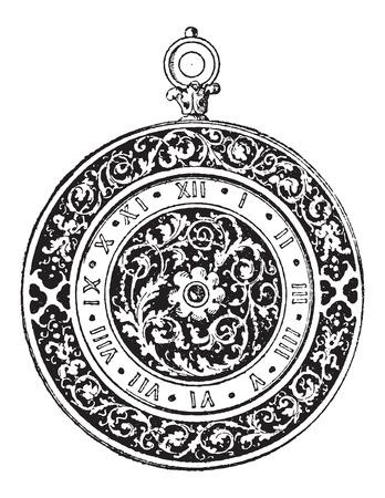 16 세기, 빈티지 새겨진 그림시, 독일 제 다이얼 시계. Larive 및 플 뢰리 - - 1,895 단어와 사물의 사전 일러스트