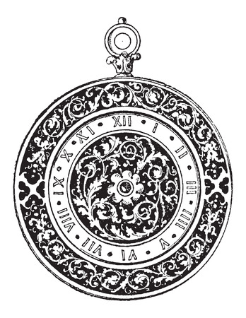 Watch Dial, German-made, during the 16th century, vintage engraved illustration. Dictionary of Words and Things - Larive and Fleury - 1895 Illustration