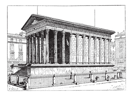 Maison Carree, in Nimes, Languedoc-Roussillon, France, vintage engraved illustration. Dictionary of Words and Things - Larive and Fleury - 1895