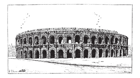 tourist spot: Arena of Nimes, in Nimes, Languedoc-Roussillon, France, vintage engraved illustration. Dictionary of Words and Things - Larive and Fleury - 1895