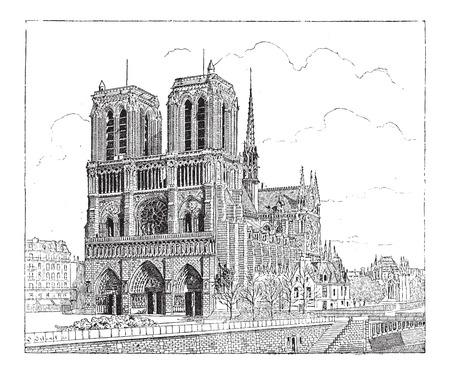 1163 년에 지어진 파리, 프랑스, 노트르담 드 파리, 빈티지 새겨진 그림. Larive 및 플 뢰리 - - 1,895 단어와 사물의 사전