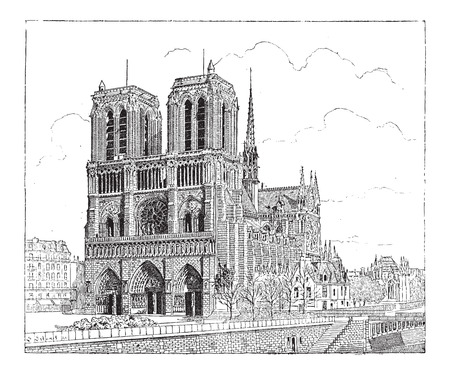 Notre Dame de Paris, in Paris, France, built in 1163, vintage engraved illustration. Dictionary of Words and Things - Larive and Fleury - 1895 Illustration