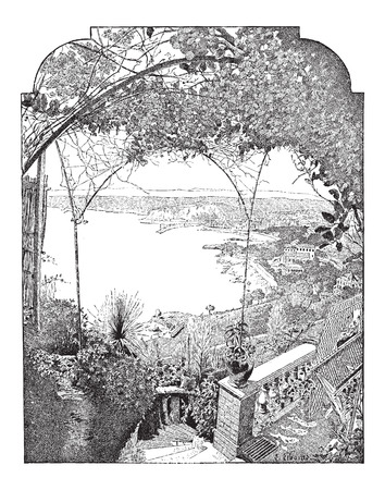 Stad van Nice, in de Provence-Alpes-Côte d'Azur, Frankrijk, met de haven binnenkomst, vintage gegraveerde illustratie. Woordenboek van woorden en dingen - Larive en Fleury - 1895 Stock Illustratie