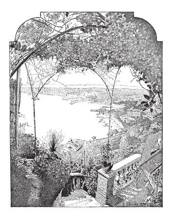 Stad van Nice, in de Provence-Alpes-Côte d'Azur, Frankrijk, met de haven binnenkomst, vintage gegraveerde illustratie. Woordenboek van woorden en dingen - Larive en Fleury - 1895 Stockfoto - 35367394