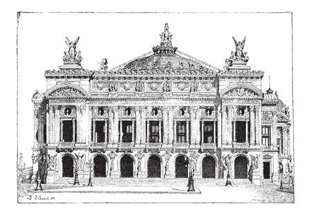 1,861에서 1,874 사이 구축하고 1875 년에 열린 파리, 프랑스 파리 오페라,,, 빈티지 새겨진 그림. Larive 및 플러 - - 1,895 단어와 사물의 사전