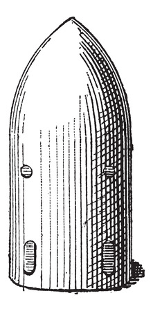 bombshell: Shell, Projectile, vintage engraved illustration. Dictionary of Words and Things - Larive and Fleury - 1895