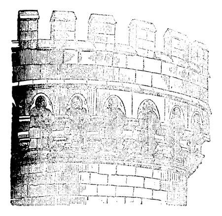 Machicolation Castle Mehun, vintage engraved illustration. Magasin Pittoresque 1875.