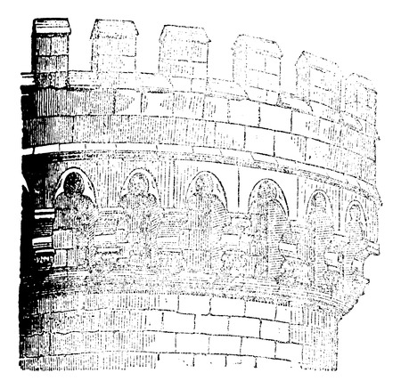 crusader: Machicolation Castle Mehun, vintage engraved illustration. Magasin Pittoresque 1875.