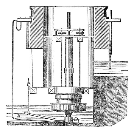 magasin pittoresque: Inside of a turbine machine, vintage engraved illustration. Magasin Pittoresque 1875.