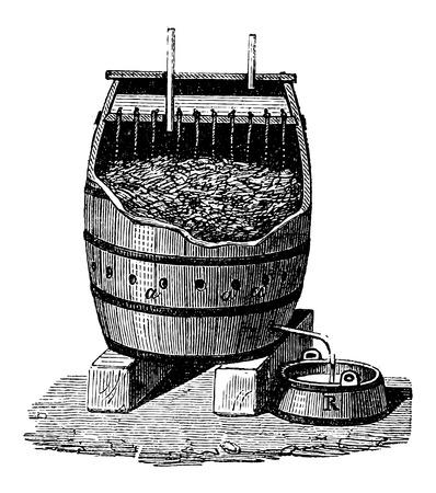 Snelle Acetification van azijn in een Schuzenbach Barrel, vintage gegraveerde illustratie. Industriële Encyclopedie - EO Lami - 1875