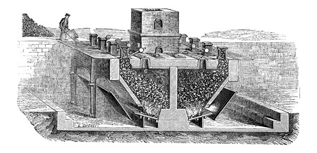 Coal Gasification by Siemens, vintage engraved illustration. Industrial Encyclopedia - E.O. Lami - 1875