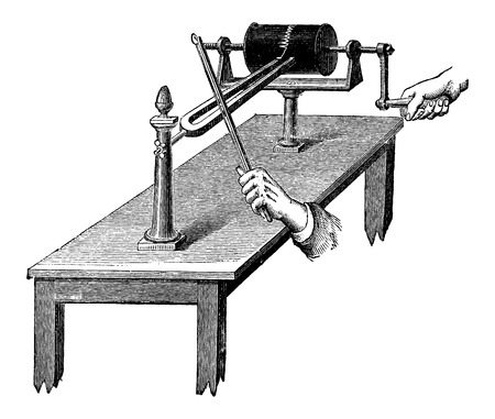 Vibroscope tracing vibrations produced by a tuning fork, vintage engraved illustration. Industrial Encyclopedia - E.O. Lami - 1875