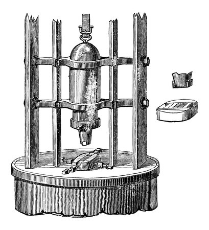 industrial machine: Stamping or Pressing Machine, vintage engraved illustration. Industrial Encyclopedia - E.O. Lami - 1875