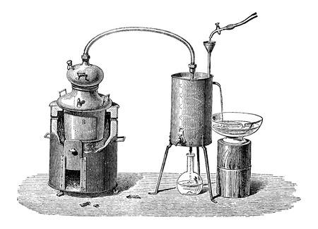 Aún así o equipo de destilación, cosecha ilustración grabada. Enciclopedia Industrial - EO Lami - 1875 Foto de archivo - 37381064