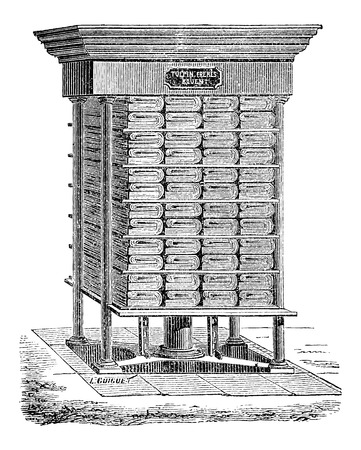 toilet paper art: Hydraulic Press used in the Production of Tissue Paper, vintage engraved illustration Illustration