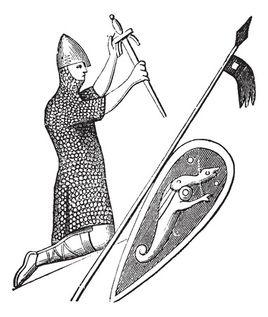 english culture: Old engraved illustration of the seal of king william the conqueror which is preserve in England. Industrial encyclopedia E.-O. Lami ? 1875.