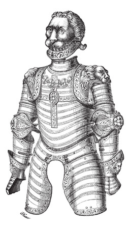 artillery: Old engraved illustration of Armor of lion also known as Louis XII at the Paris Museum of Artillery, isolated on the white background. Industrial encyclopedia E.-O. Lami ? 1875. Illustration