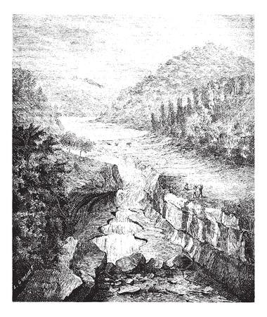 metre: Old engraved illustration of Perte-du-Rhone in Bellegarde-sur-Valserine France