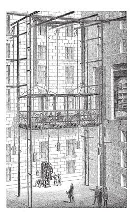 Old engraved illustration of Elevator in the Grand Opera of Paris, France. Industrial encyclopedia E.-O. Lami - 1875. 版權商用圖片 - 37385154