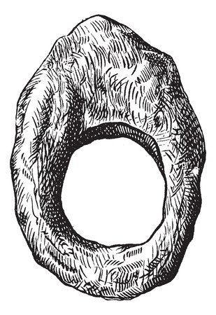 ring finger: Old engraved illustration of finger ring of roman period isolated on a white background
