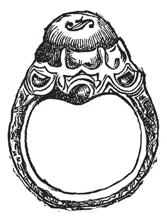 Old engraved illustration of ring of Frederick the Great isolated on a white background Stok Fotoğraf - 37385158