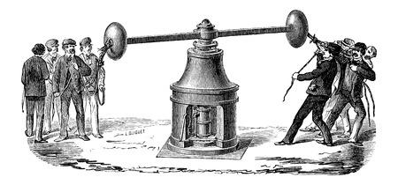 coining: Coining Press, vintage engraved illustration Illustration
