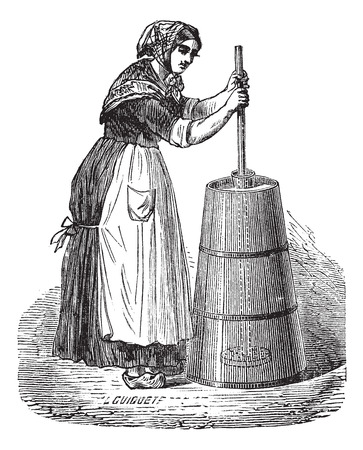 Old engraved illustration of Woman churning butter with ordinary plunger Vectores