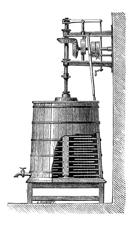 churning: Clyburn Steam-driven Butter Churn, vintage engraved illustration Illustration