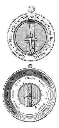 atmospheric: Old engraved illustration of Two Bourdon barometers isolated on a white background. Industrial encyclopedia E.-O. Lami - 1875.