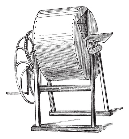 laundering: Old engraved illustration of wheel washing-machine which operates by hands only