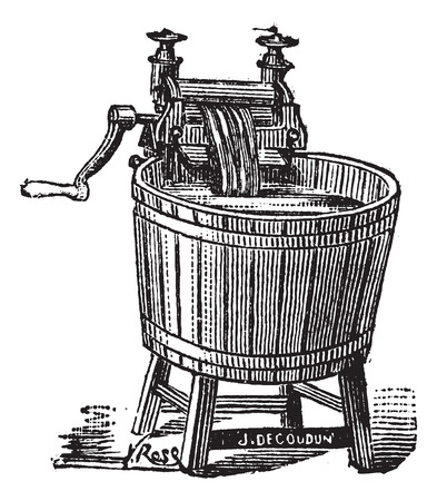 laundering: Old engraved illustration of Spin washer with pressure