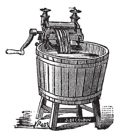 Oude gegraveerde illustratie van de Spin wasmachine met druk Stock Illustratie