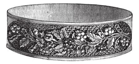 Old engraved illustration of flower design modern bracelet isolated on a white background Illustration