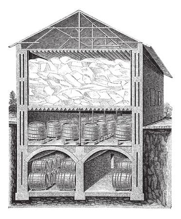 Old engraved illustration of iced beer cellar system of Brainard