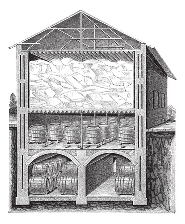 Old engraved illustration of iced beer cellar system of Brainard