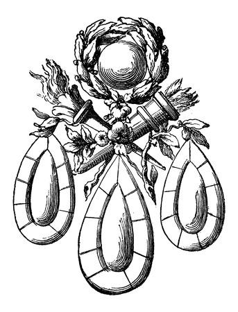 Brooch, showing teardrop design elements