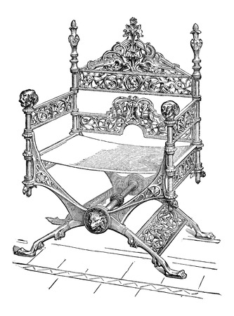 Bronze Faldstool, during the 12th century, vintage engraved illustration Ilustração