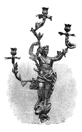 Branched Candelabra with human design, during the 18th century, vintage engraved illustration Ilustracja