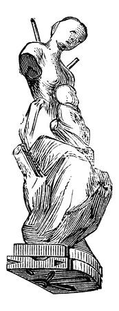 ビンテージの刻まれた図の子供と女性の形に金型をフィギュア化。産業百科事典 E.O. Lami 1875  イラスト・ベクター素材