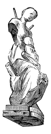 moulding: Mould Figurine in the shape of a woman with child, vintage engraved illustration. Industrial Encyclopedia - E.O. Lami - 1875 Illustration