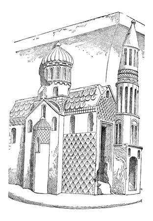 느 베르, 프랑스, 빈티지 새겨진 그림 세인트 구세주 교회