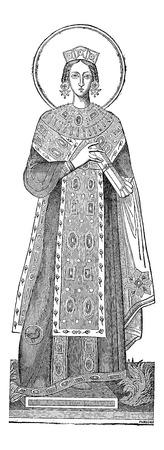 세인트 아그네스, 빈티지 새겨진 그림의 동상