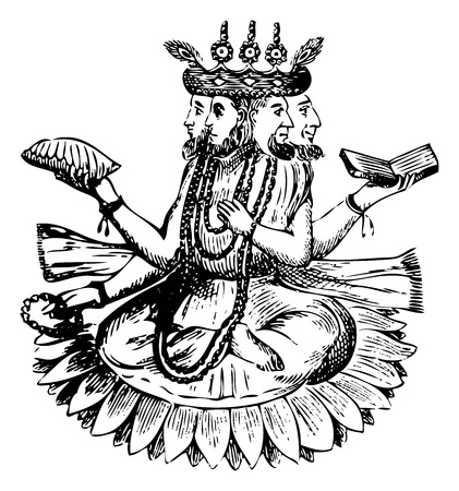 deluge: Old illustration (engraving) showing Noah (Bramah) and his Three Sons on a Lotus After the Deluge
