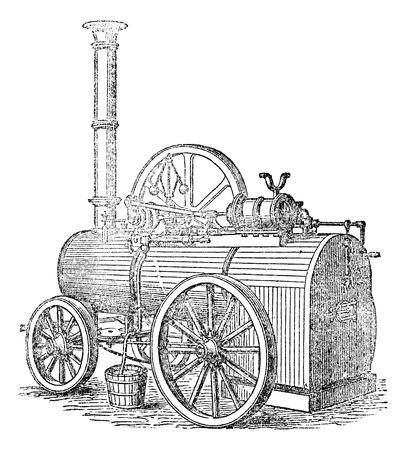 MAQUINA DE VAPOR: El vapor o m�quina de vapor, a�ada una ilustraci�n grabada. Vectores