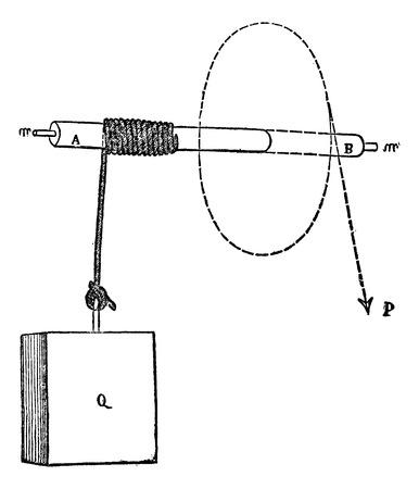 Winch, vintage engraved illustration. Winch a mechanical device Ilustrace