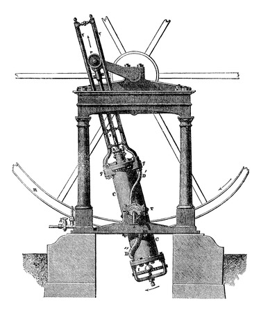 Steam machine, vintage engraved illustration. Magasin Pittoresque 1875. Vectores