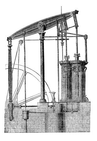 MAQUINA DE VAPOR: M�quina de vapor de dos cilindros, cosecha ilustraci�n grabada. Magasin Pittoresque 1875. Vectores