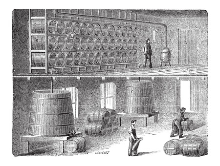 fermenting: Orleans Method of Vinegar Manufacturing, vintage engraved illustration Illustration