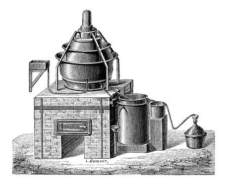 Concentration of Sulfuric Acid, vintage engraved illustration Çizim