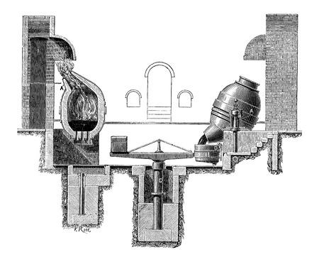 Bessemer Steelmaking Process, vintage engraved illustration Ilustração